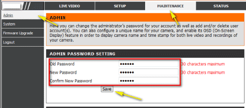 D link router password change